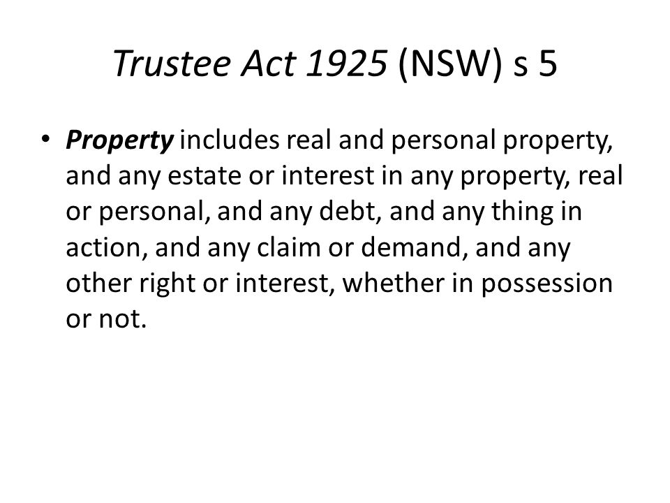 Trustee Act 1925 (NSW) s 5