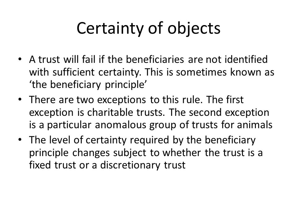 Certainty of objects