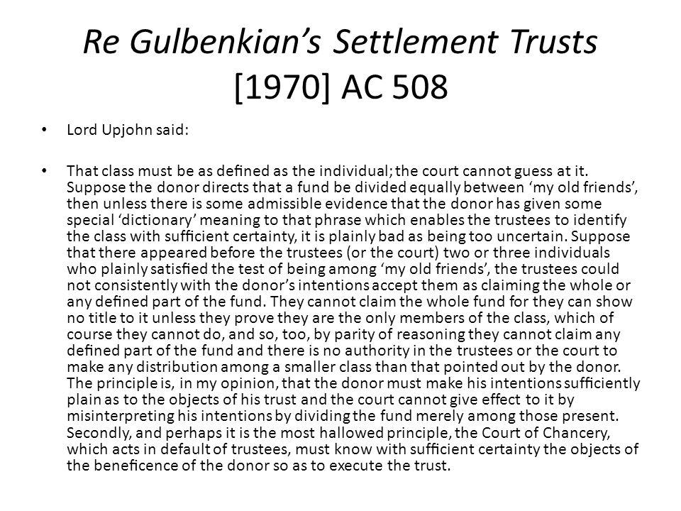 Re Gulbenkian's Settlement Trusts [1970] AC 508