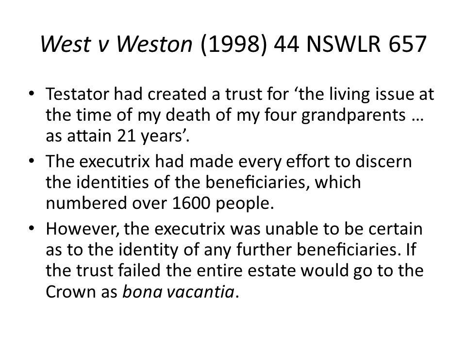 West v Weston (1998) 44 NSWLR 657