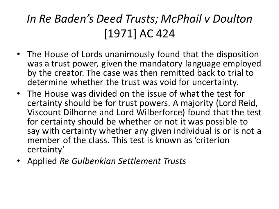 In Re Baden's Deed Trusts; McPhail v Doulton [1971] AC 424