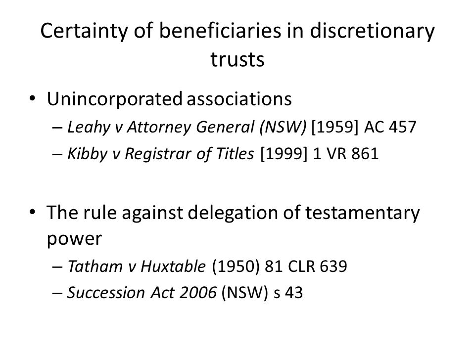 Certainty of beneficiaries in discretionary trusts