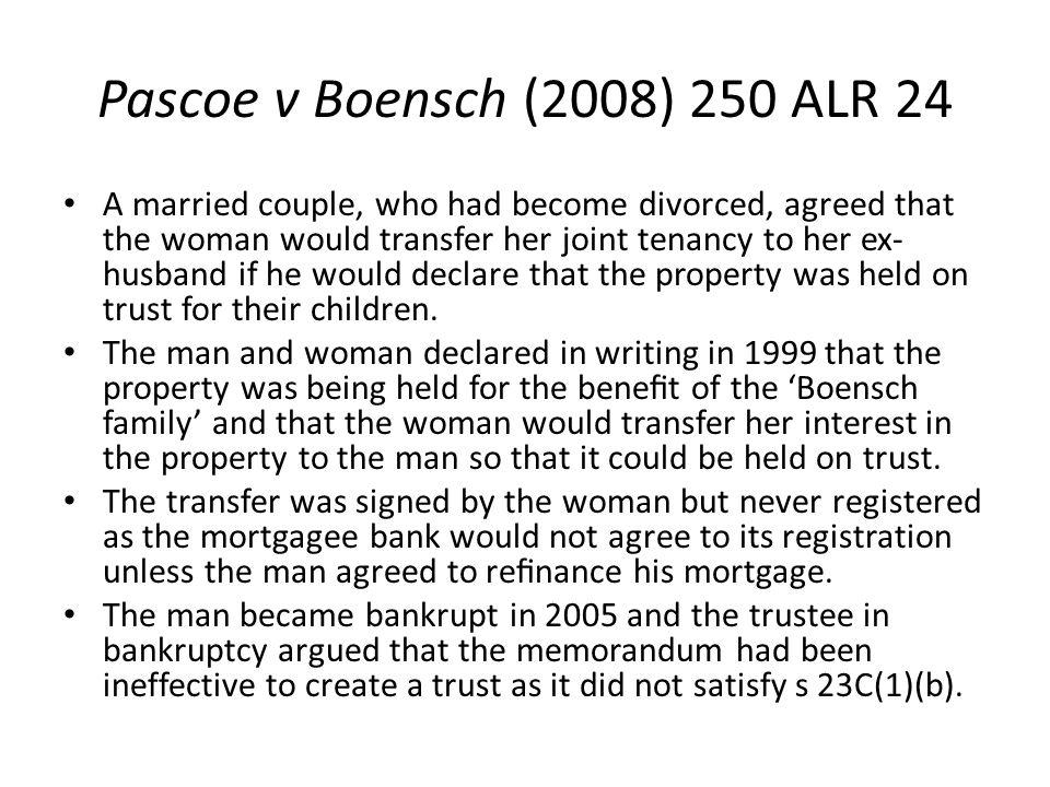 Pascoe v Boensch (2008) 250 ALR 24