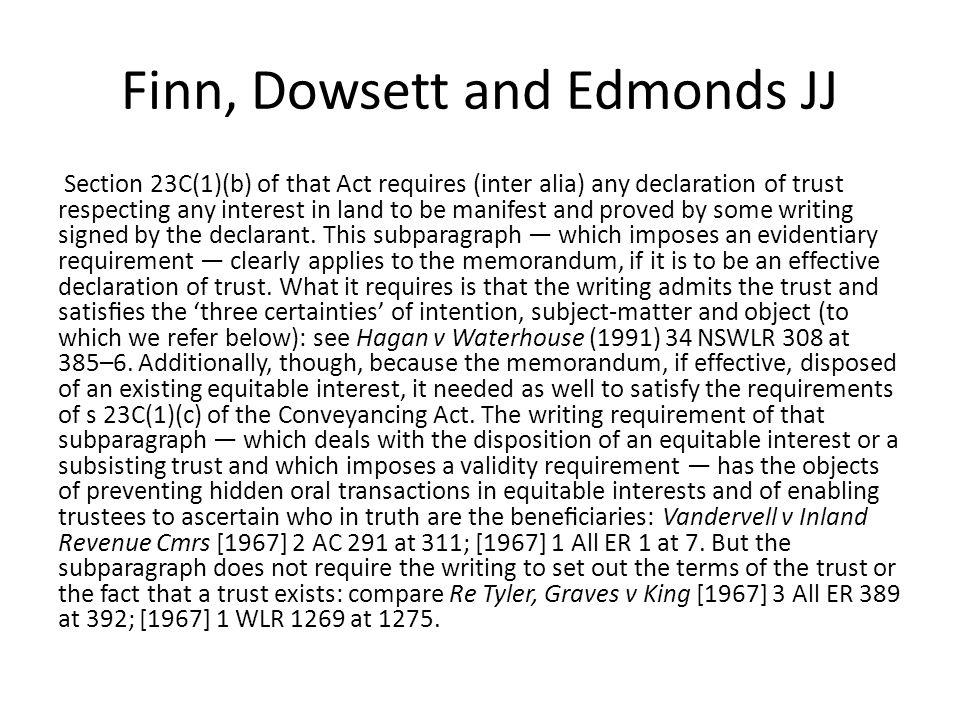 Finn, Dowsett and Edmonds JJ