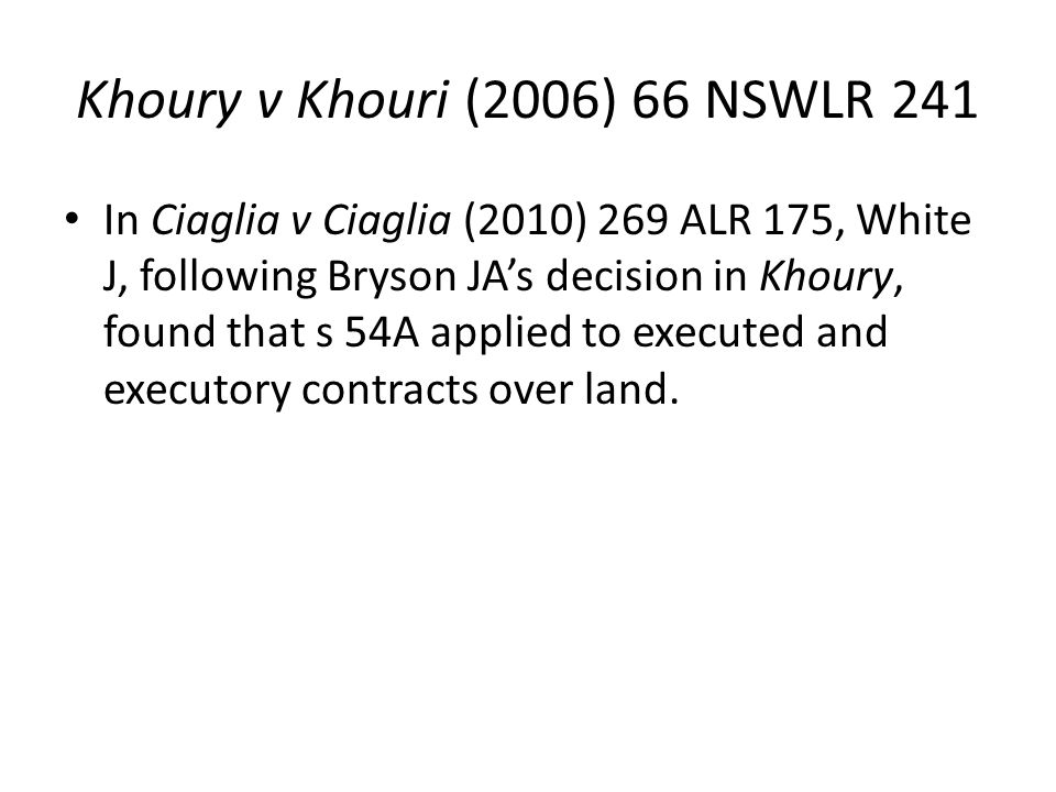 Khoury v Khouri (2006) 66 NSWLR 241