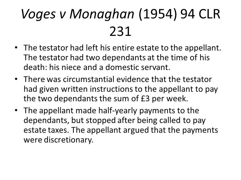 Voges v Monaghan (1954) 94 CLR 231