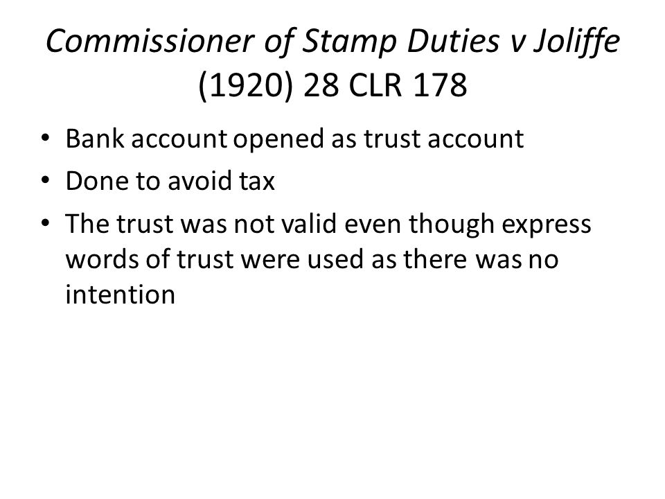Commissioner of Stamp Duties v Joliffe (1920) 28 CLR 178