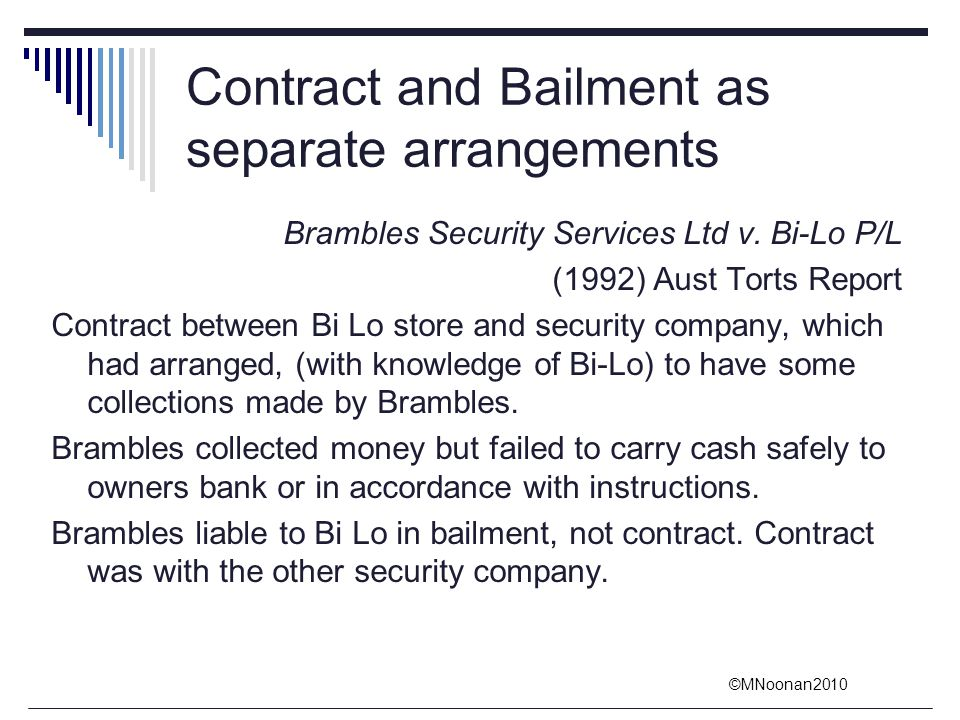 Contract and Bailment as separate arrangements