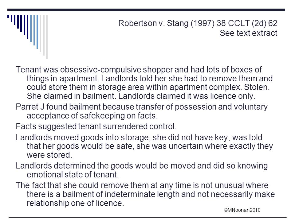 Robertson v. Stang (1997) 38 CCLT (2d) 62 See text extract