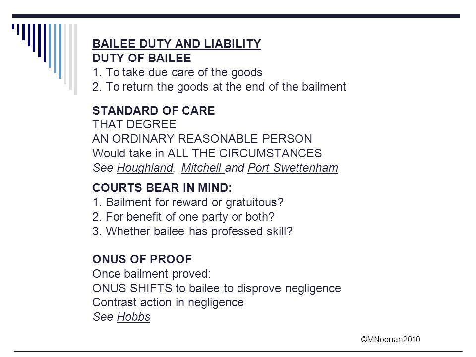 BAILEE DUTY AND LIABILITY
