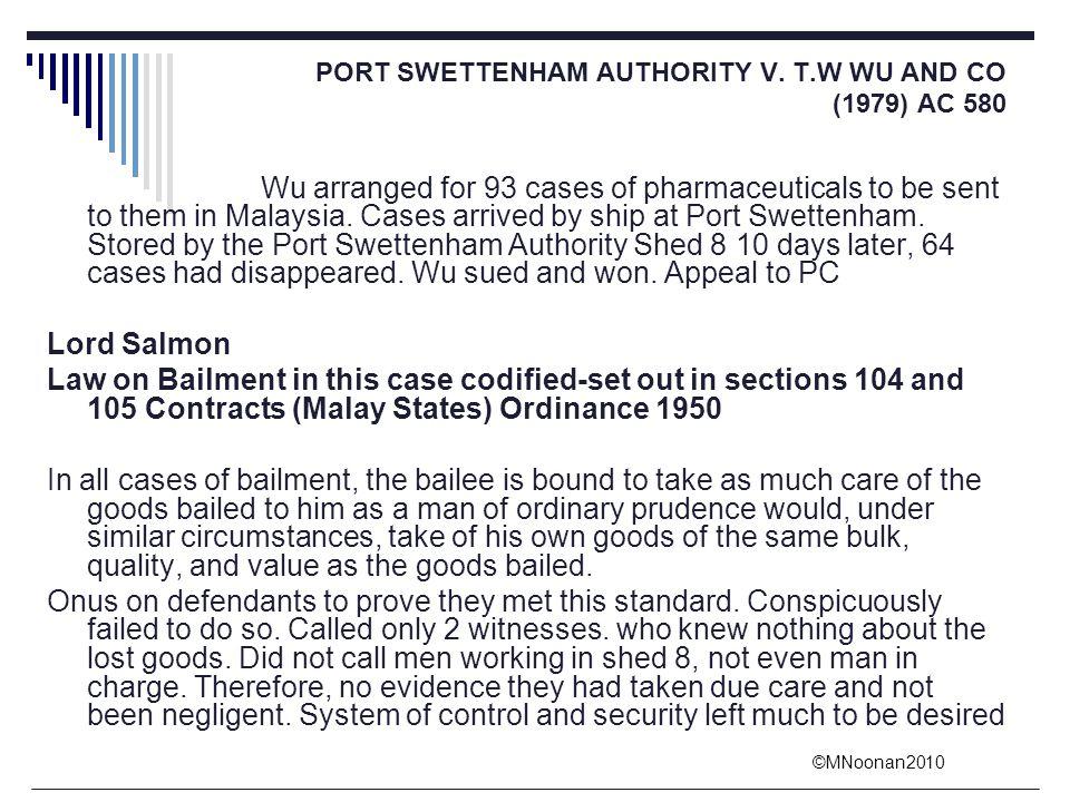 PORT SWETTENHAM AUTHORITY V. T.W WU AND CO