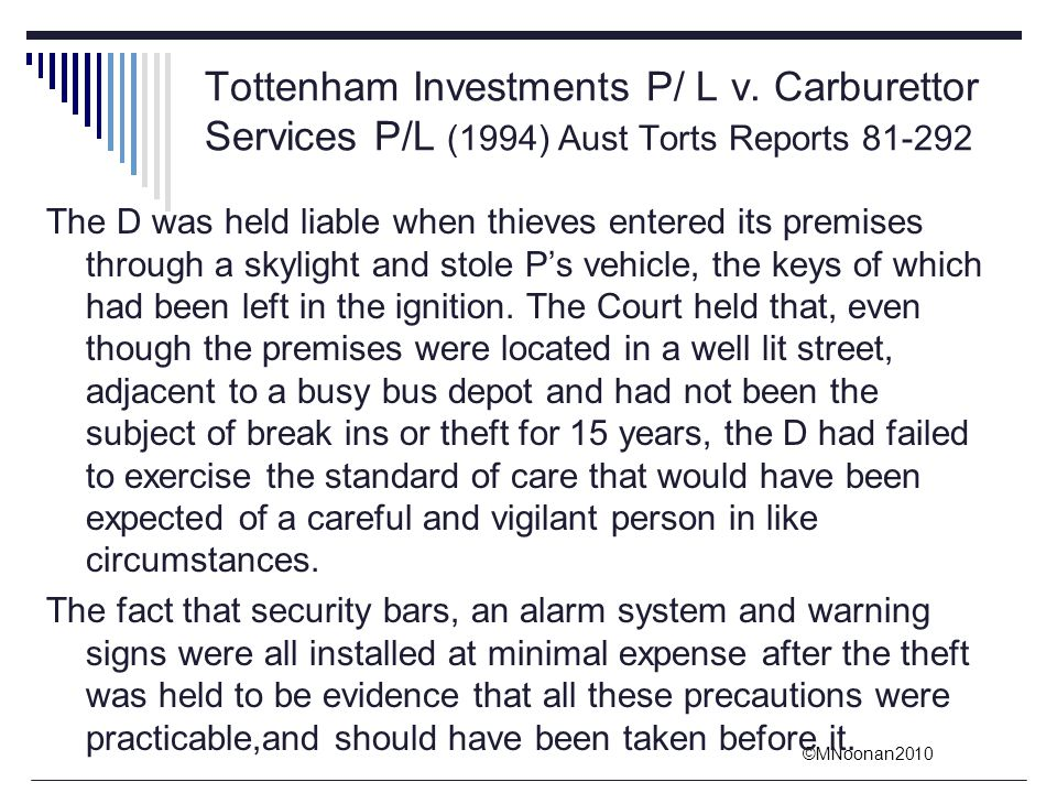 Tottenham Investments P/ L v