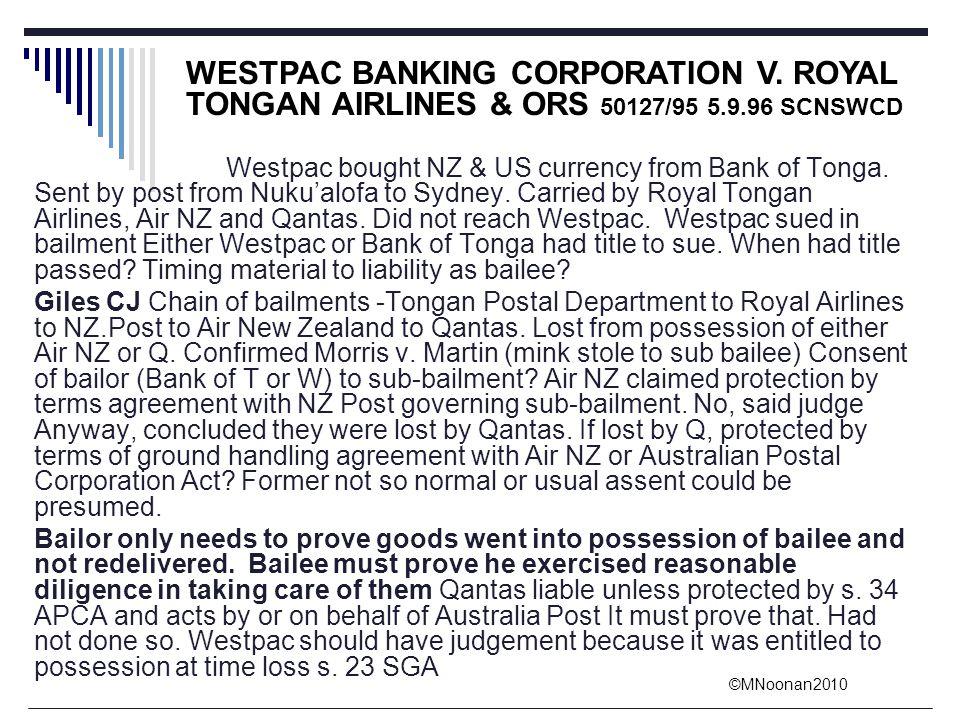 WESTPAC BANKING CORPORATION V. ROYAL TONGAN AIRLINES & ORS 50127/95 5