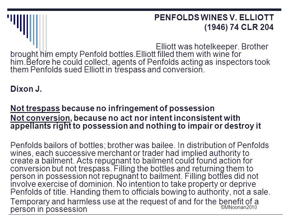 PENFOLDS WINES V. ELLIOTT