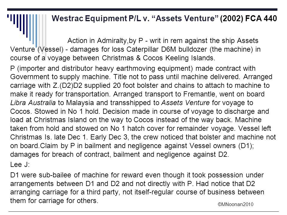 Westrac Equipment P/L v. Assets Venture (2002) FCA 440