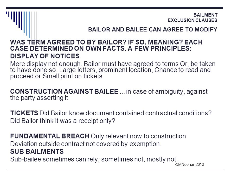 TICKETS Did Bailor know document contained contractual conditions