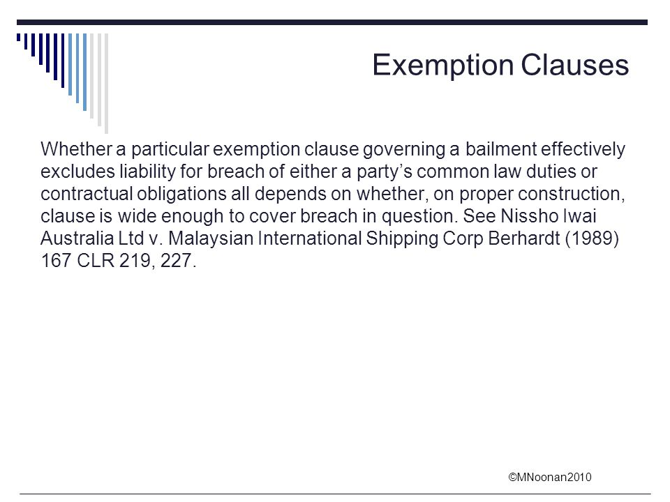 Exemption Clauses
