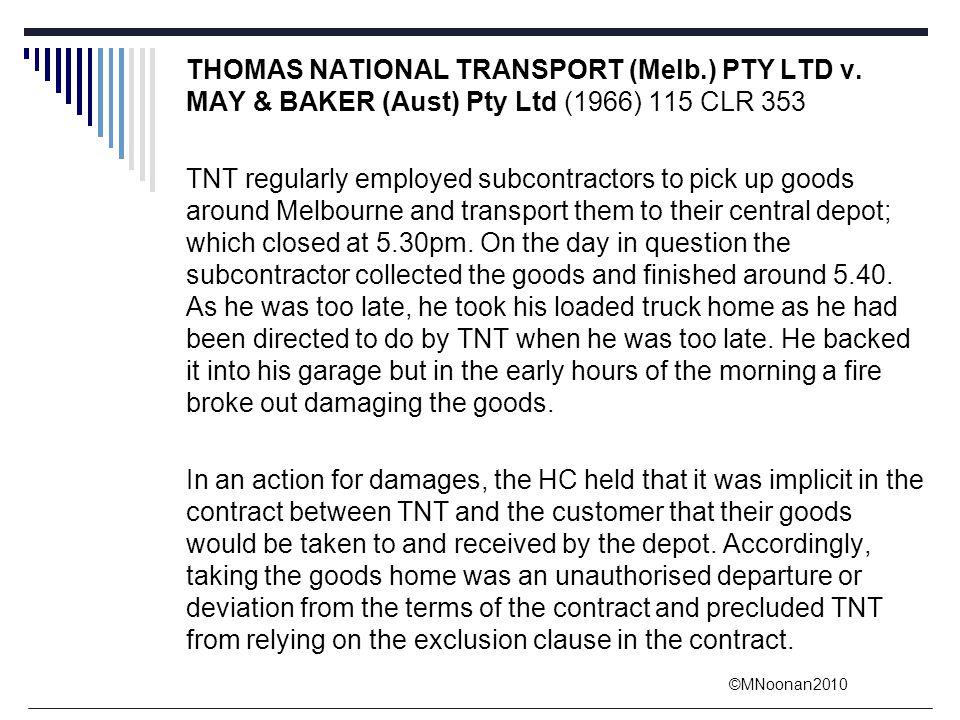 THOMAS NATIONAL TRANSPORT (Melb. ) PTY LTD v