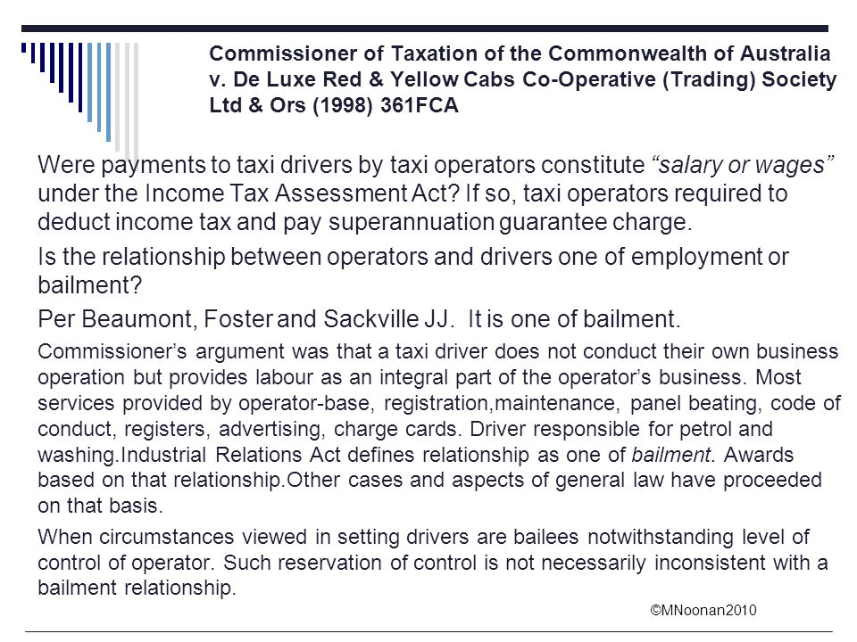 Per Beaumont, Foster and Sackville JJ. It is one of bailment.