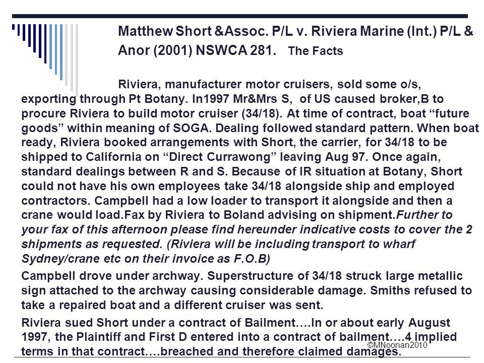 Matthew Short &Assoc. P/L v. Riviera Marine (Int.) P/L &