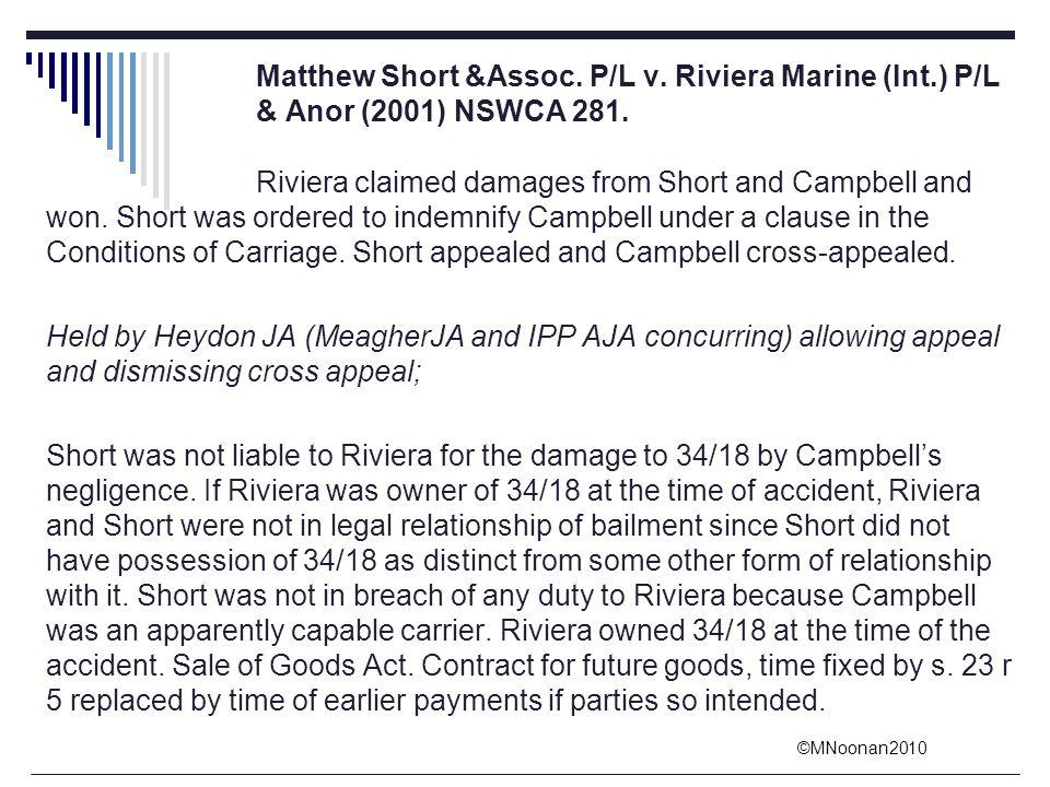 Matthew Short &Assoc. P/L v. Riviera Marine (Int. ) P/L
