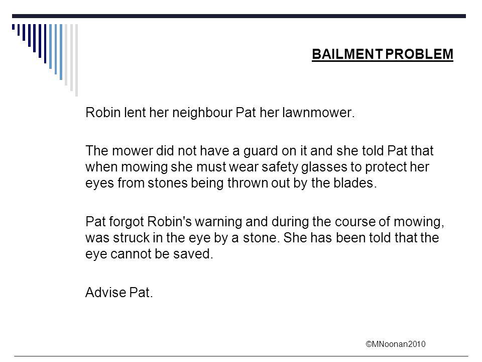BAILMENT PROBLEM Robin lent her neighbour Pat her lawnmower.