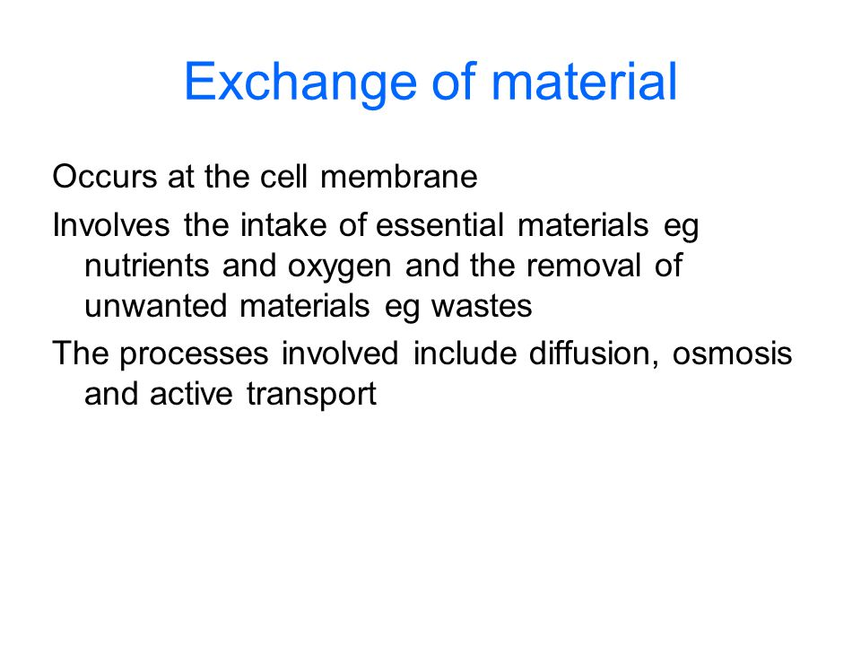 Exchange of material Occurs at the cell membrane