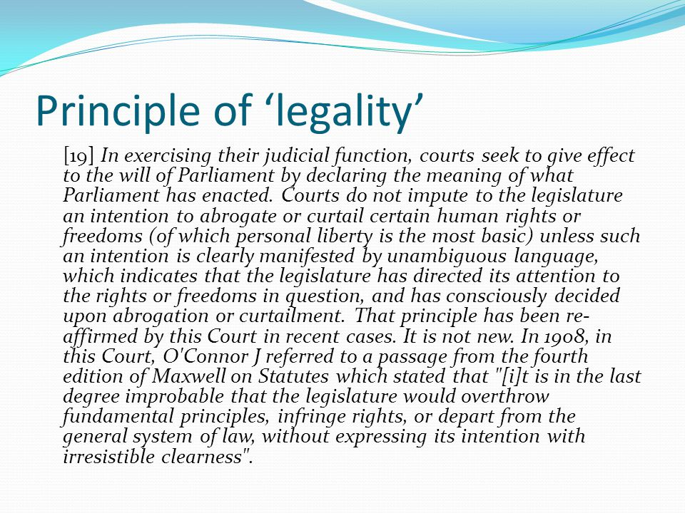 Principle of 'legality'