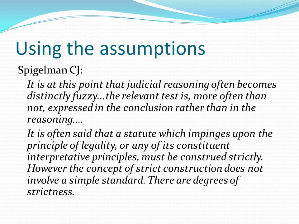 Using the assumptions