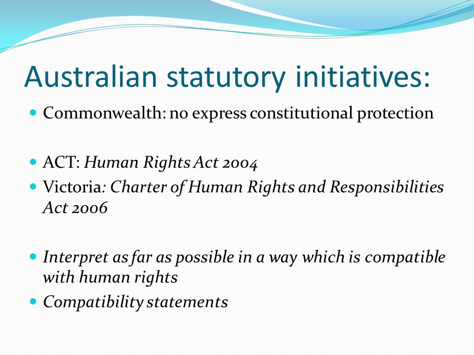 Australian statutory initiatives: