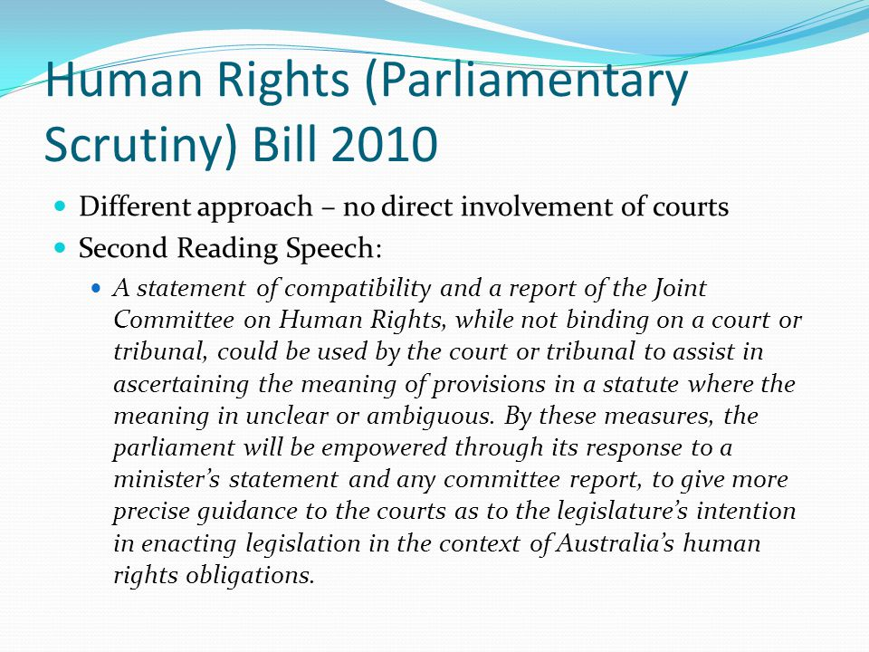 Human Rights (Parliamentary Scrutiny) Bill 2010