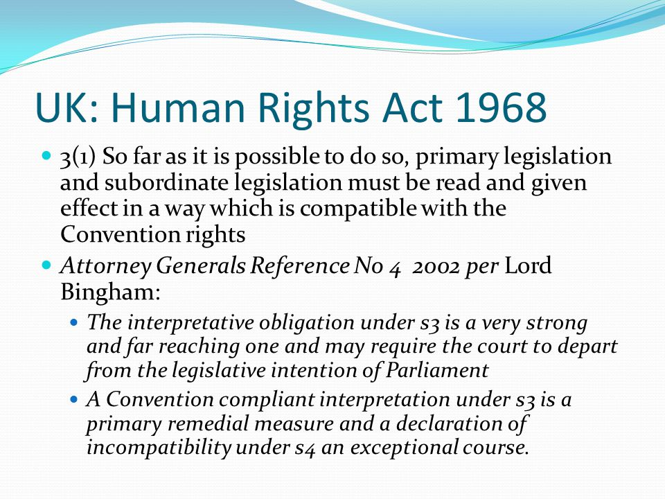 UK: Human Rights Act 1968