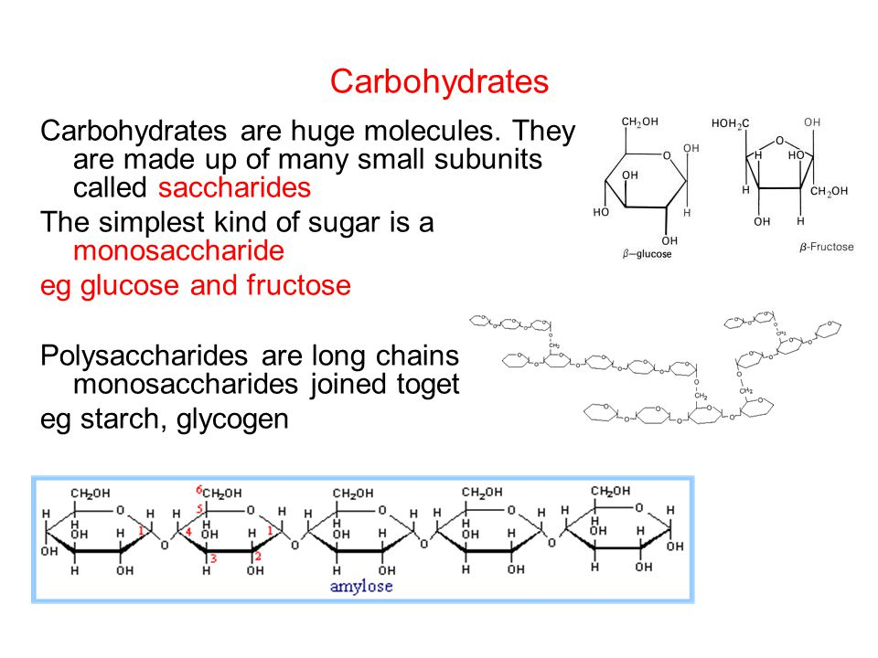 Carbohydrates Carbohydrates are huge molecules. They are made up of many small subunits called saccharides.