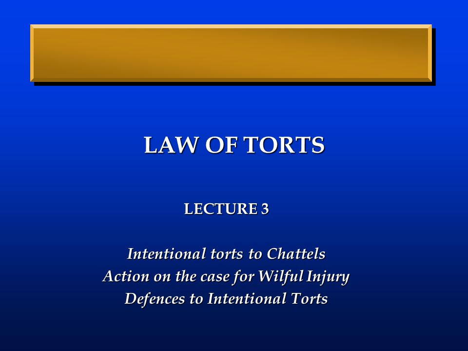 LAW OF TORTS LECTURE 3 Intentional torts to Chattels