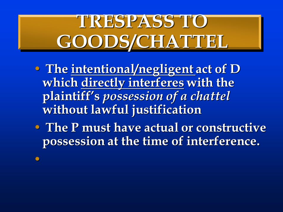 TRESPASS TO GOODS/CHATTEL