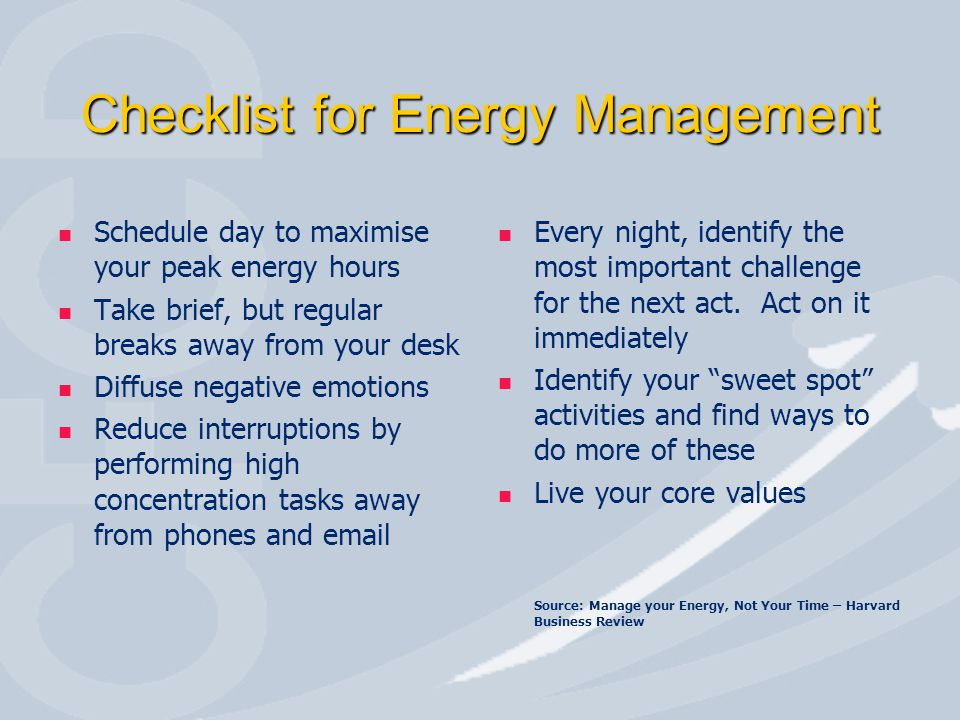 Checklist for Energy Management