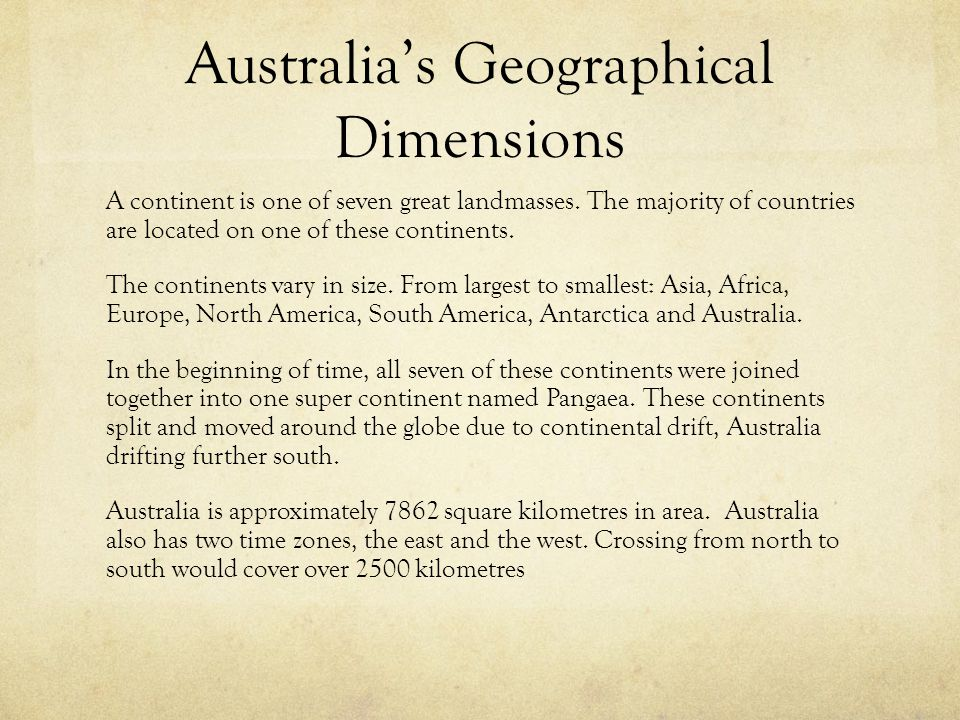Australia's Geographical Dimensions