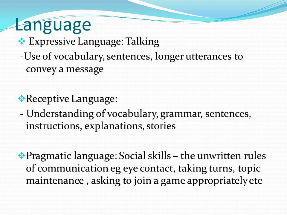 Language Expressive Language: Talking