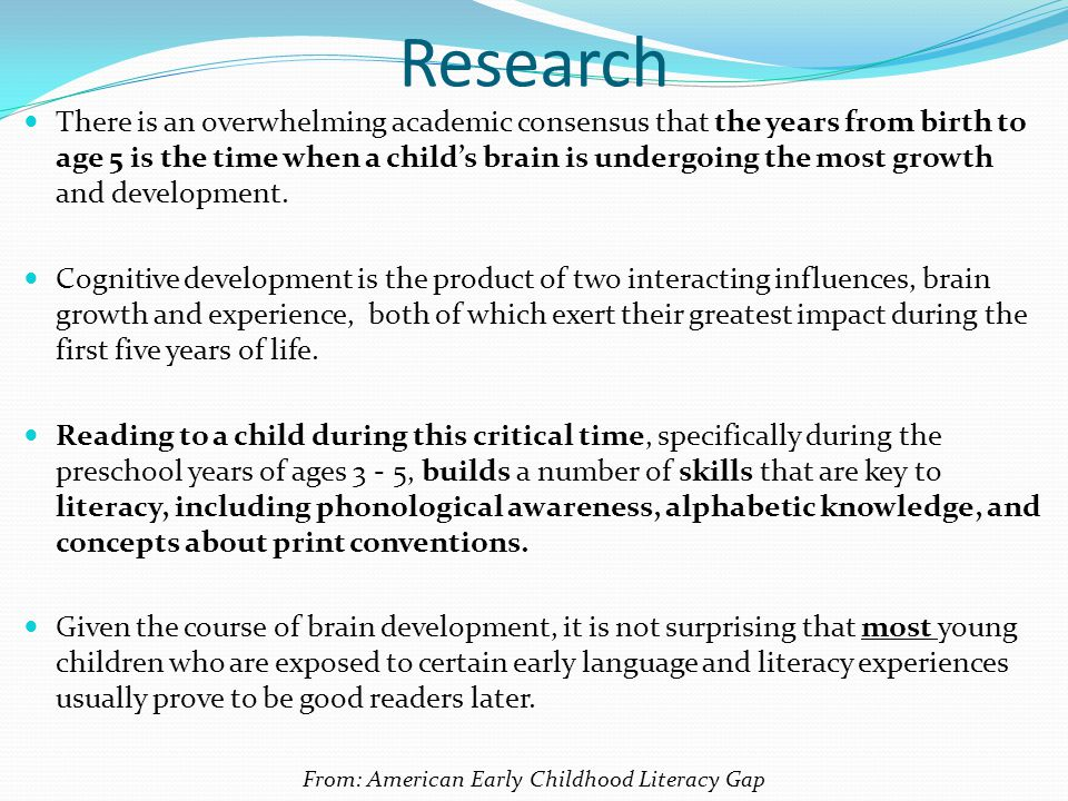 From: American Early Childhood Literacy Gap
