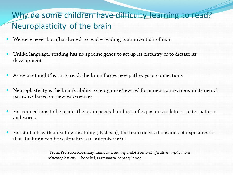 Why do some children have difficulty learning to read
