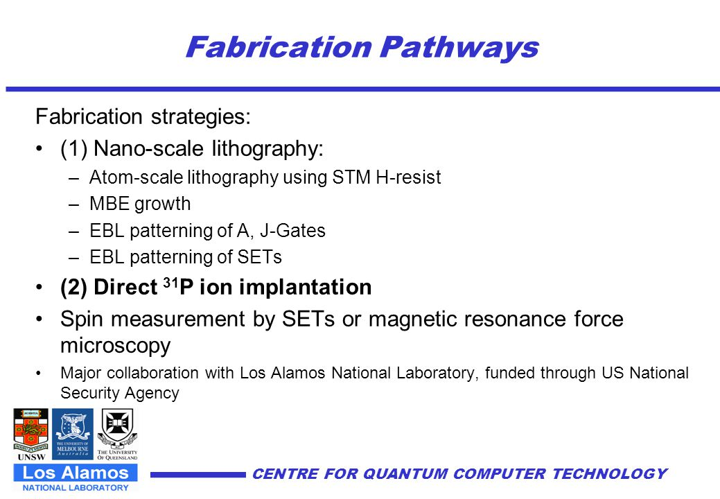Fabrication Pathways Fabrication strategies: