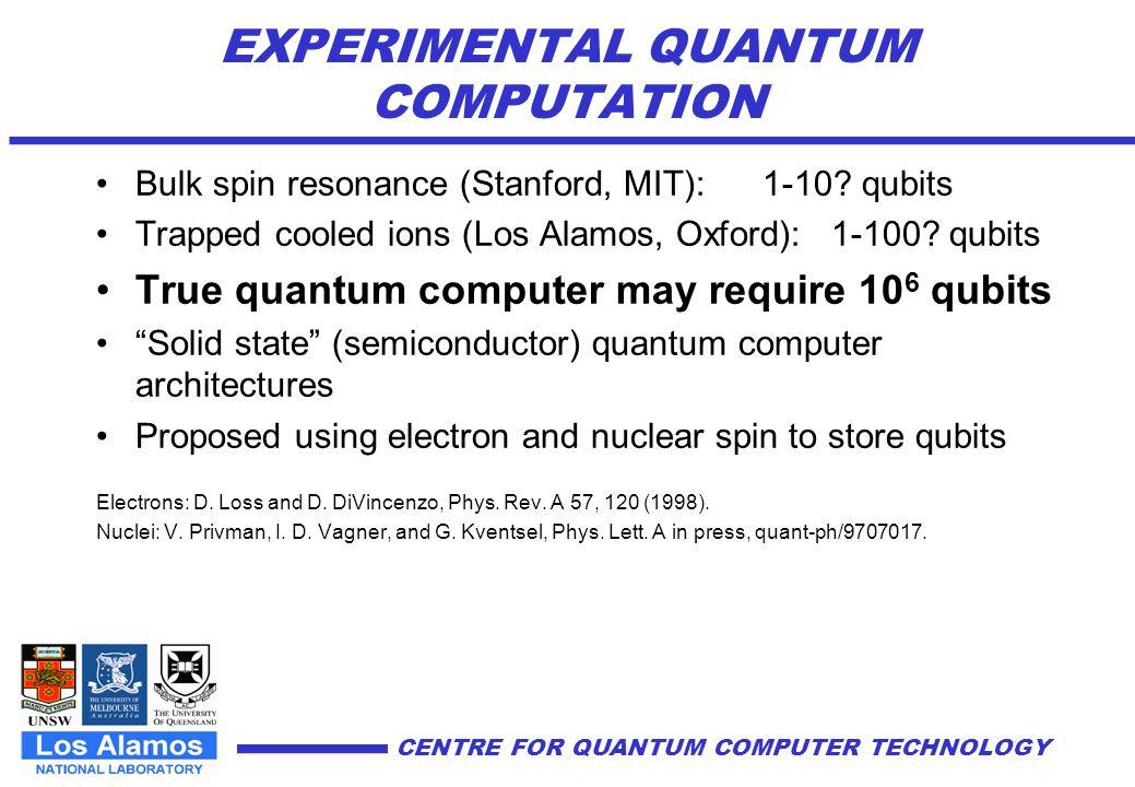 EXPERIMENTAL QUANTUM COMPUTATION