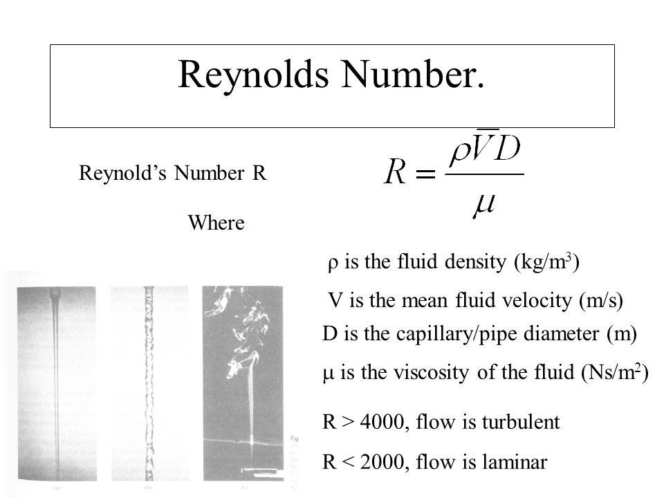 Reynolds Number. Reynold's Number R Where