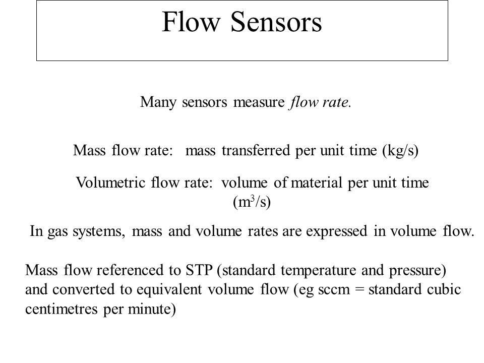 Flow Sensors Many sensors measure flow rate.