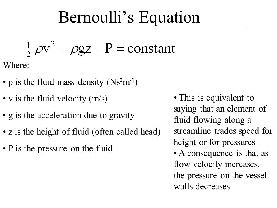 Bernoulli's Equation Where: ρ is the fluid mass density (Ns2m-1)