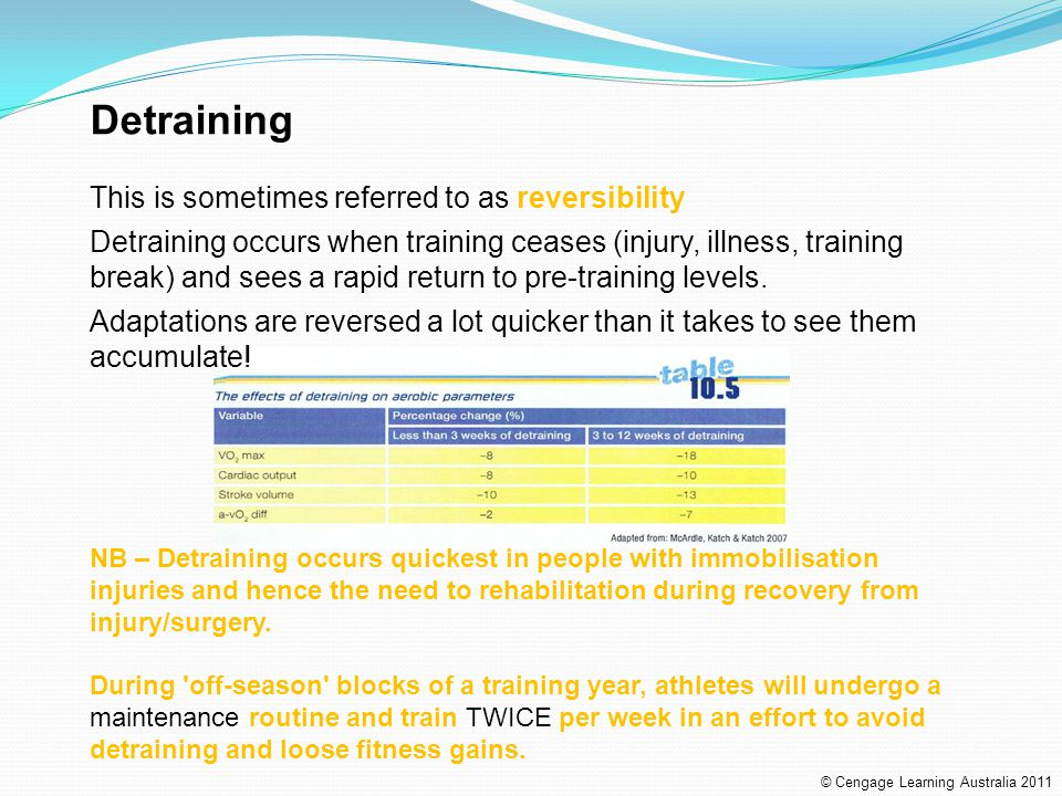Detraining This is sometimes referred to as reversibility