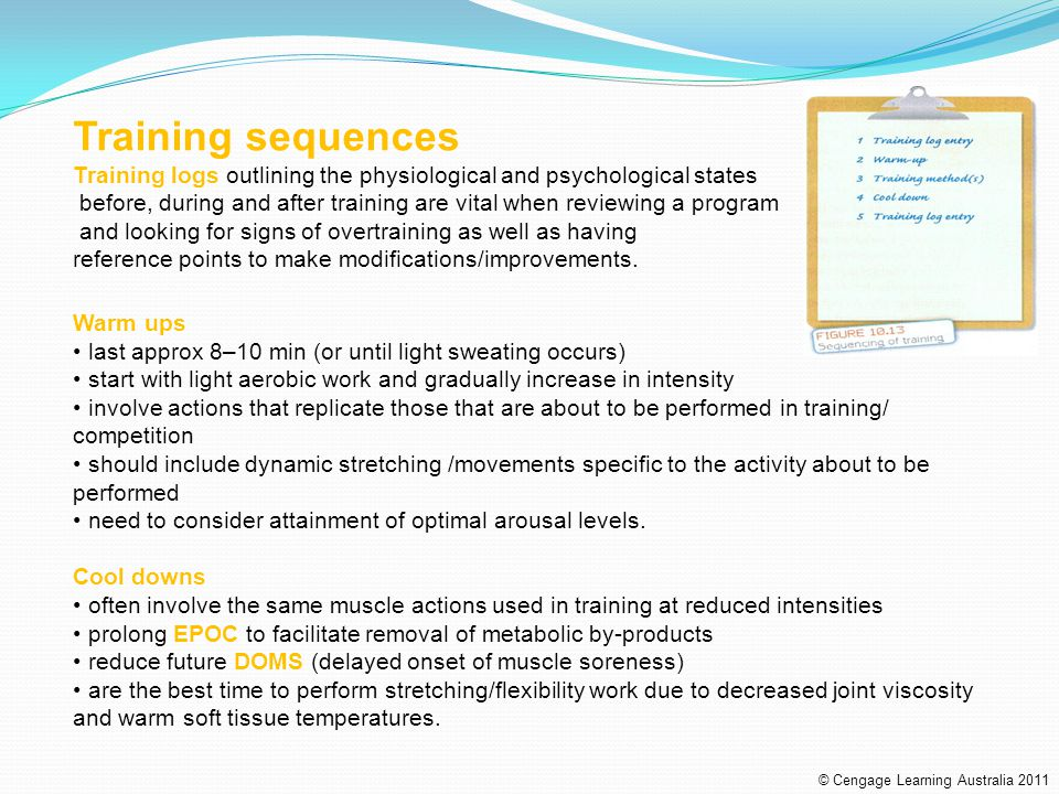 Training sequences Training logs outlining the physiological and psychological states.