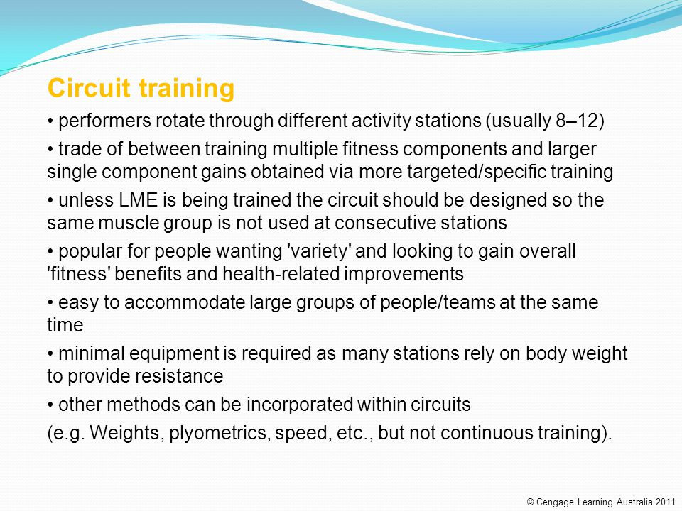 Circuit training performers rotate through different activity stations (usually 8–12)