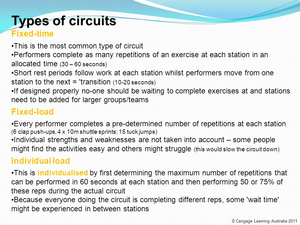 Types of circuits Fixed-time Fixed-load Individual load