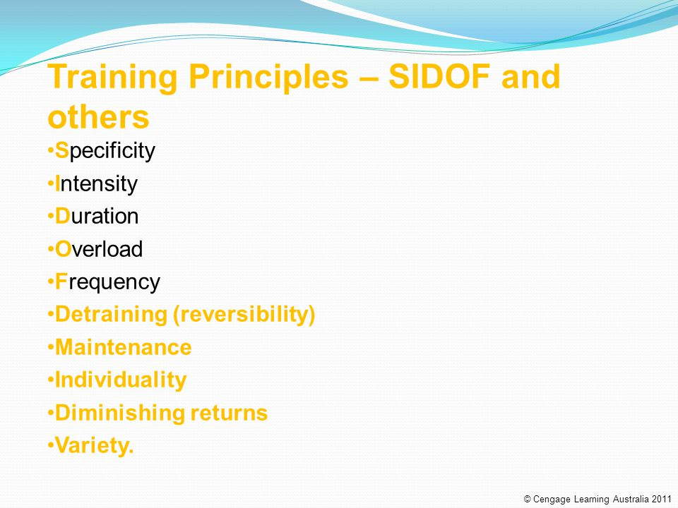 Training Principles – SIDOF and others